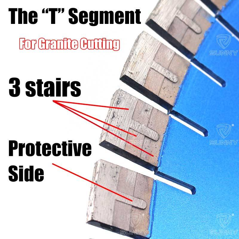 Short T shape diamond segments for granite saw blade