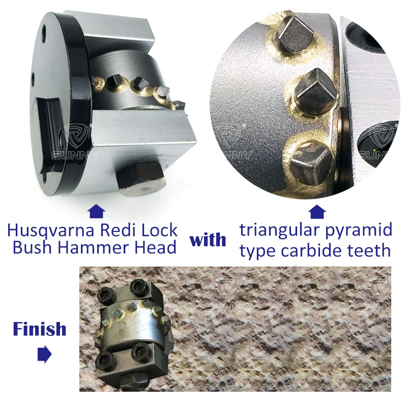 husqvarna redi lock bush hammer head with triangular pyramid type carbide teeth