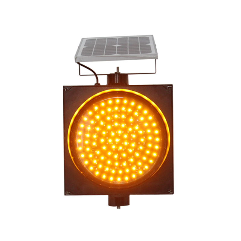 300mm road safety yellow flashing LED signal solar warning light 1